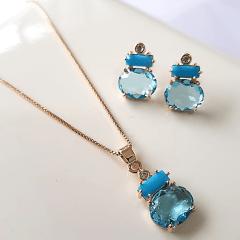 1-Conjunto Bella com cristais azul - colar curto e brinco