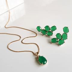 Conjunto colar e brinco de cristais verde esmeralda 2