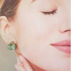1-Conjunto classic com cristal verde aqua e zircônias - colar e brinco