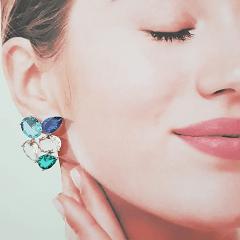 1-Conjunto cristais multicolor - colar e brinco