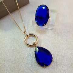 COLAR + ANEL - CRISTAL CLASSIC BLUE 2