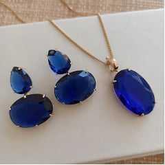 Conjunto colar e brinco de cristal azul safira