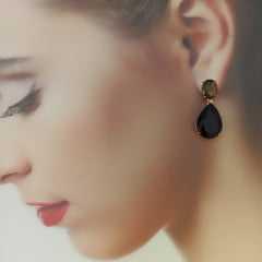 Conjunto Premium - colar e brinco de cristais preto ônix