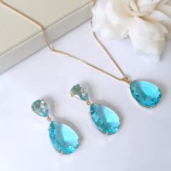 Conjunto de cristal azul aquamarine  -  colar e brinco