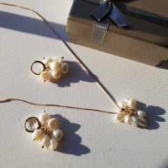 Conjunto cacho pérolas barrocas colar + brinco