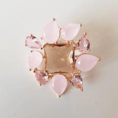 Conjunto Della Flora com cristais multicolor rosa - modelo quadrado