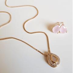 Conjunto Ponto de Luz- cristal rosa leitoso e zircônias - colar e brinco