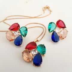 Conjunto Della Flora colar e brinco de cristais multicolor ///   aguardando anel!!