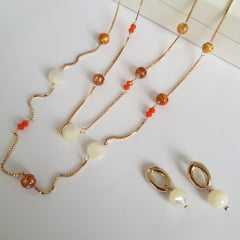 Conjunto colar longo pedras naturais e brinco