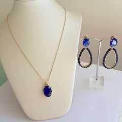 Conjunto de cristais azul safira-  colar e brinco
