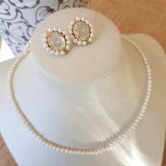 Conjunto Lady Pérola - brinco bordado com colar curto - cristal white