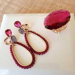 1-Brinco Dela Flora de cristais - rosa turmalina