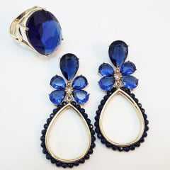 BRINCO E ANEL CRISTAL CLASSIC BLUE