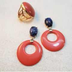 Conjunto de brinco e anel resina cor coral