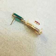 Conjunto semijoia de madrepérola com cristais - colar curto + brinco