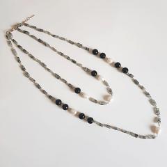 Conjunto pedras naturais e pérolas de água doce - colar  + brinco