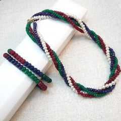 conjunto - colar torsade com pedras e pérolas naturais com pulseira uma volta