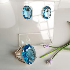Conjunto anel + brinco de cristal azul aquamarine