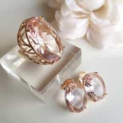 2-Conjunto anel + brinco de cristal rosa morganita