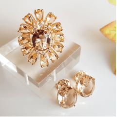 Conjunto anel e brinco cristais champanhe - linha especial