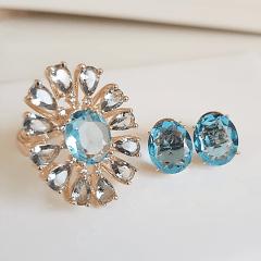 Conjunto anel  e brinco de cristais azul aquamarine