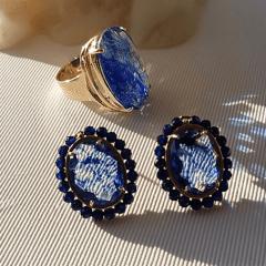 1-Conjunto anel  e brinco de cristais azul rutilado com bordado
