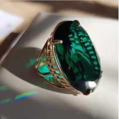 Conjunto anel e brinco de cristal verde turmalina