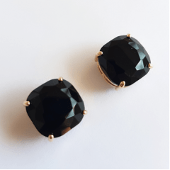 Anel e brinco de cristal antique - cor ônix
