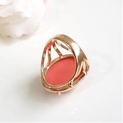 Conjunto anel e brinco de resina coral 4