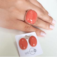 Conjunto anel e brinco de resina coral 3