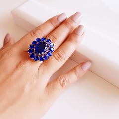 1-Conjunto anel premium + brinco - de cristal azul safira