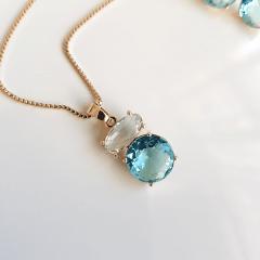 Conjunto Daily de cristais azul aquamarine - colar + brinco