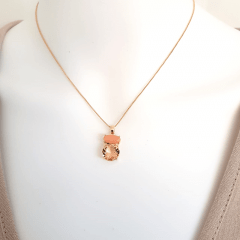 Conjunto Daily de cristais pêssego morganita e pedra natural laranja - colar + brinco