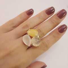 2- Conjunto brinco argola e anel - cristais