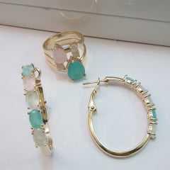 conjunto brinco argola e anel de cristais
