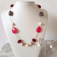 Conjunto Ateliê - colar curto + brinco - pedras naturais