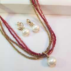 1 - Conjunto colar curto de cristais e brincos - vermelho