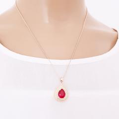 Conjunto colar curto e brinco de cristal vermelho rubi