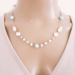 Conjunto Ateliê - colar curto e brinco de pedras naturais e pérolas