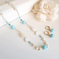 1-Conjunto Ateliê - colar curto e brinco de pedras naturais e pérolas