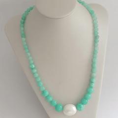 Conjunto colar e brinco com pérola shell e jade summer turquesa