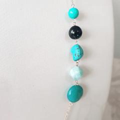 Conjunto colar e brinco com pedras naturais turquesa