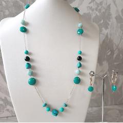 1-Conjunto colar e brinco com pedras naturais turquesa
