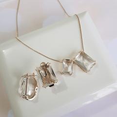 Conjunto colar e brinco de cristais baguete white