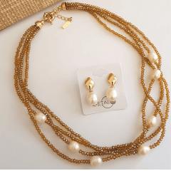 Conjunto colar e brinco de cristais e pérolas  - tom citrino