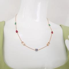 1-Conjunto colar e brinco de cristais coloridos