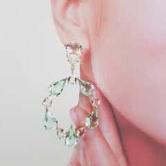 Conjunto colar e brinco de cristais gota  - verde