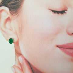 Conjunto ponto de luz - cristal verde esmeralda - colar e brinco