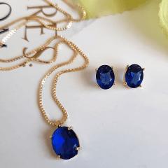 Conjunto ponto de luz - cristal azul safira - colar e brinco