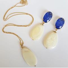 Conjunto clássico gota madrepérola e cristal rutilado - colar e brinco